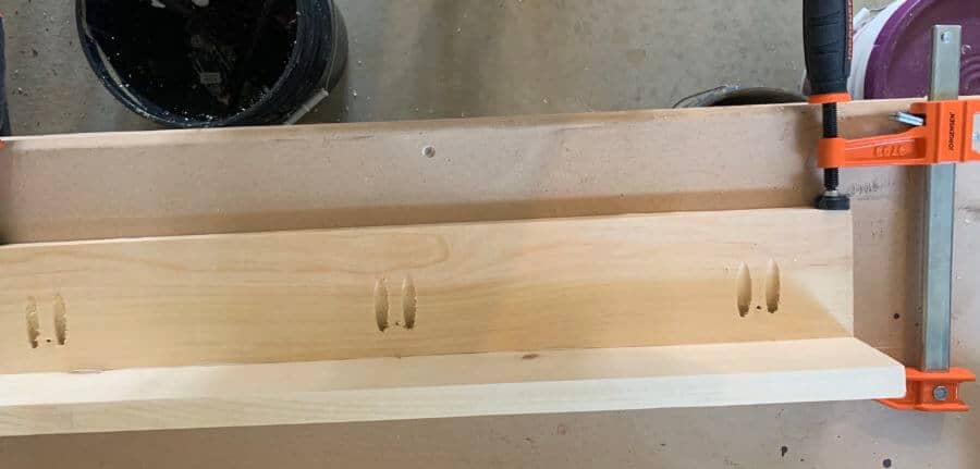 DIY bookshelf ledges glue