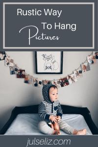 Rustic way to hang photos pin