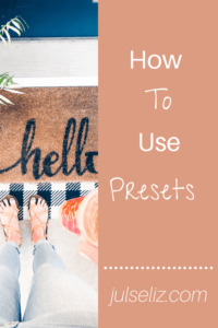 How to use Presets Pin